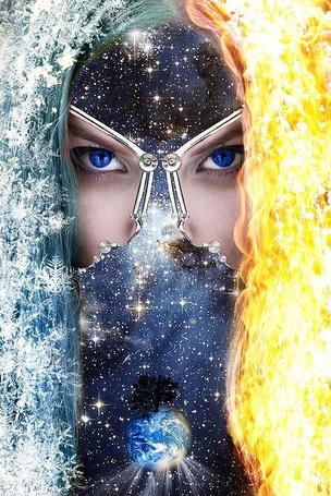 Фото Фотоманипуляция Звездная фантазия, голубоглазая девушка с волосами в виде огня и холода, в маске со звездным небом, Луной, деревом