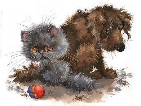 Фото Щенок и котенок опечалены прокушенным во время игры резиновым мячиком, художник Любовь Еремина
