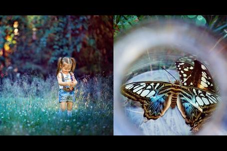 Фото Девочка с баночкой, в которой бабочки, фотограф Ирина
