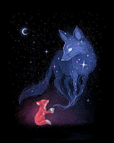 Фото Лисенок с кружкой в лапках смотрит на дух лисы, by freeminds