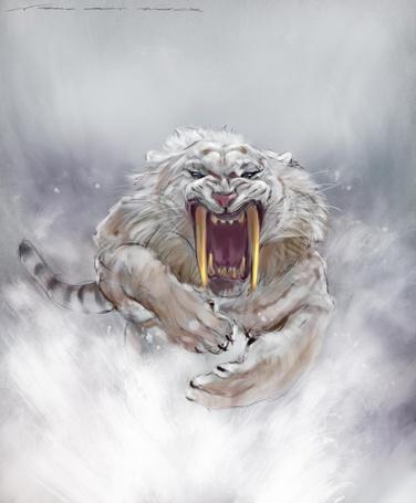 Фото Саблезубый белый тигр в прыжке, by nosoart