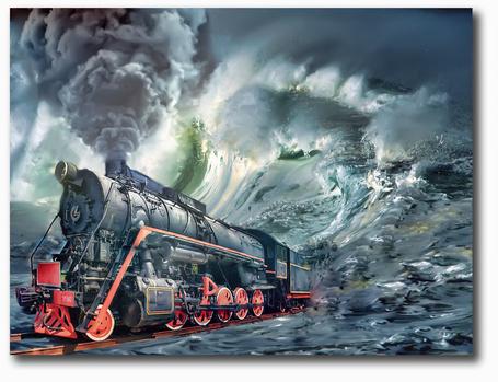 Фото Приближающийся поезд из волн