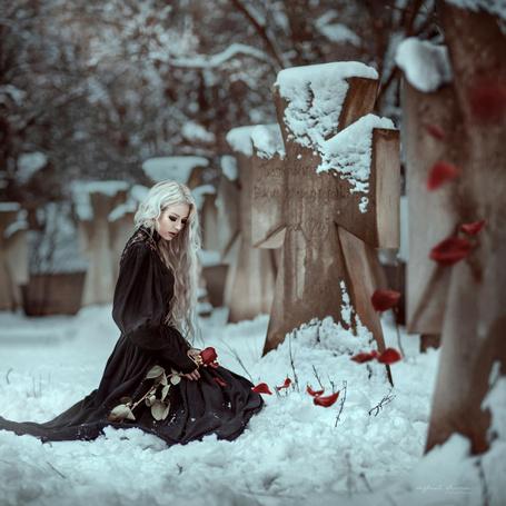 Фото Девушка с розой сидит на снегу, фотограф Ирина Джуль