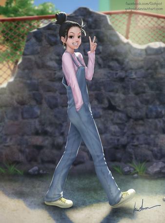 Фото Веселая девочка идет по дороге, by Gohpot