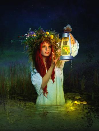 Фото Девушка стоит в воде и держит в руке фонарик с водой в которой плавает золотая рыбка, by Twinkle Space