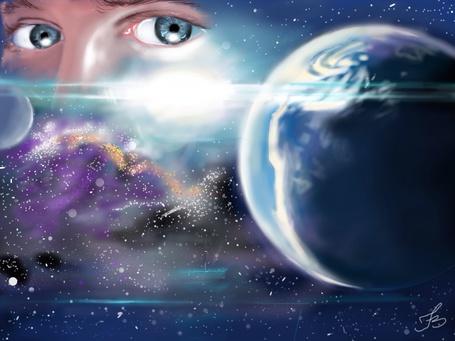 Фото Глаза девушки на фоне космоса, by n4nd00