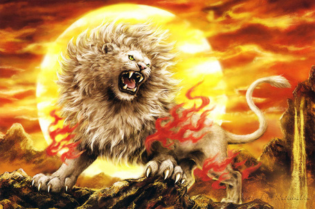 Фото Разъяренный лев в огне на фоне заходящего солнца, art by Kayomi Harai