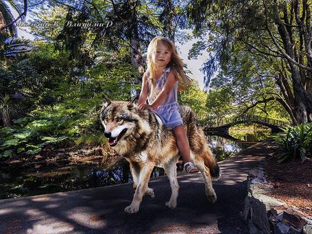 Фото Девочка в парке с прудом, катается верхом на волке