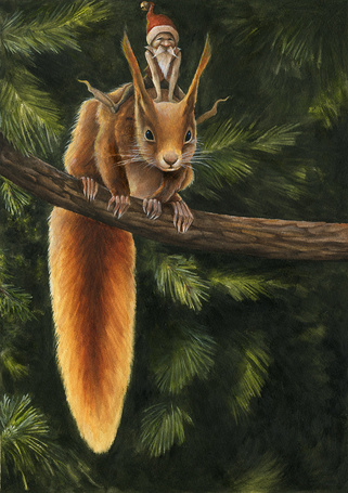 Фото Белка с эльфом сидящая на ветке дерева, by Markeli