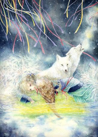 Фото Девушка с крылом вместо одной руки и два белых волка