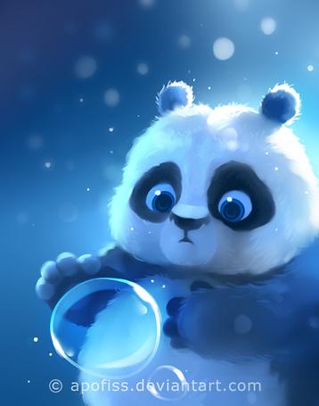 Фото Малыш панда смотрит на пузырь, by Apofiss