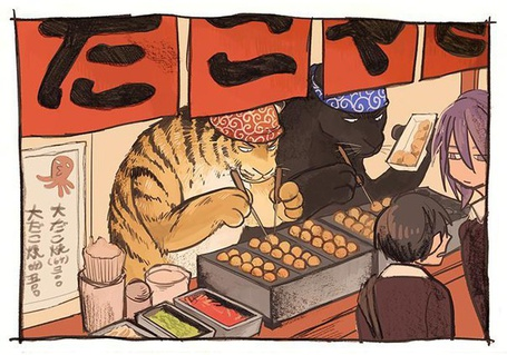 Фото Тигр и пантера готовят еду в японском ресторане