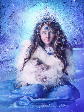 Фото Девочка в снежинках с ежиком, by EnchantedWhispersArt