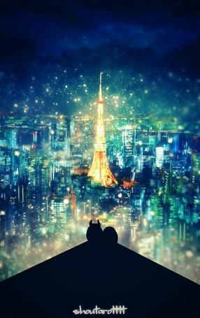 Фото Маленький демон сидит на крыше дома, любуясь огнями ночного города, by ShouTaro