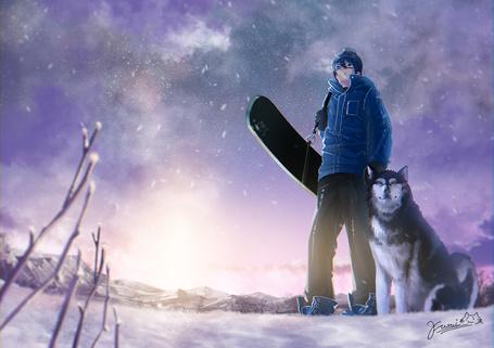 Фото Парень со сноубордом и лайка