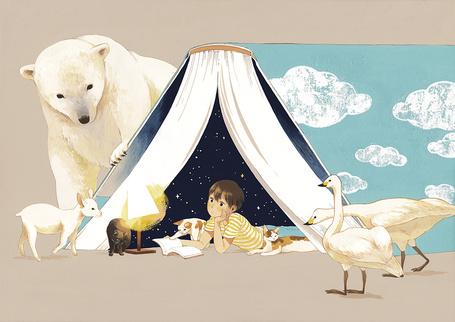 Фото Мальчик читает книгу, лежа в импровизированной палатке из книги, внутри которой звездное небо, вокруг него животные и птицы