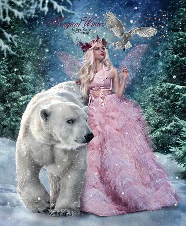 Фото Девушка-фея, белый медведь и сова, by EstherPuche