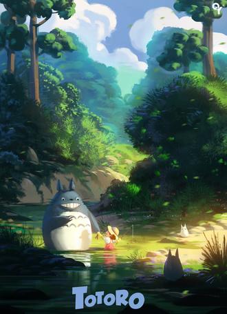 Фото Мэй Кусакабэ, Тоторо и маленькие Тоторо из аниме Мой сосед Тоторо / My Neighbor Totoro, by Liang-Xing