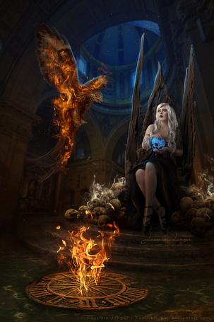 Фото Девушка с черепом в руках сидит на троне и смотрит на огненного феникса, by kuschelirmel