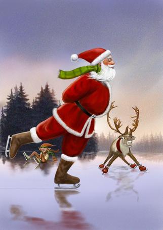 Фото Санта Клаус, олень и эльф катаются по льду на коньках, by