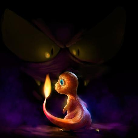Фото Покемон с огоньком на хвостике испуганно смотрит в темноту, by fubango