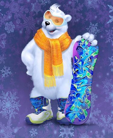 Фото Белый медведь в очках, шарфике, сапожках, с доской для сноуборда стоит среди снежинок, иллюстратор, дизайнер и фотограф Инесса Кирьянова