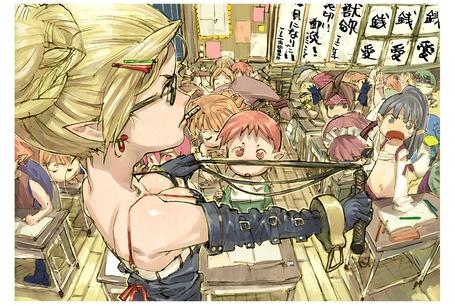 Фото Pleinair и строгая училка Prinny с плеткой на уроке в классе из игры Disgaea, art by Takehito Harada