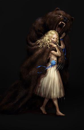 Фото Белокурая девочка с медведем, by MisMist