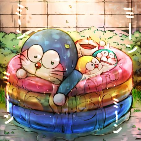 Фото Дораэмон / Doraemon и три котенка-робота из аниме Дораэмон-1979 / Doraemon (1979)