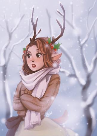 Фото Девушка с оленьими рожками, by Wernope
