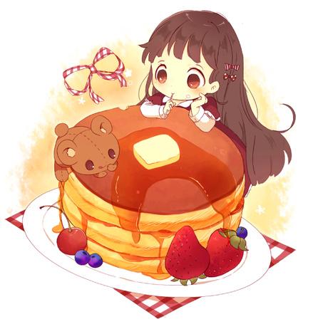 Фото Девочка и плюшевый мишка в тарелке с оладьями