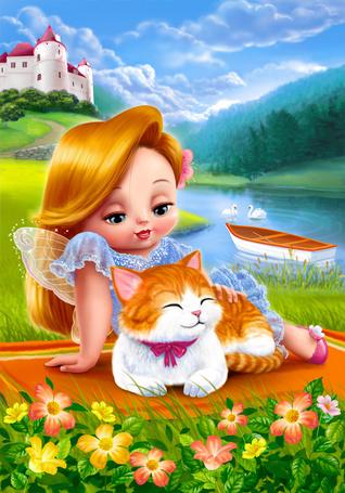 Фото Девочка-фея с бело-рыжим котенком лежат на коврике у реки