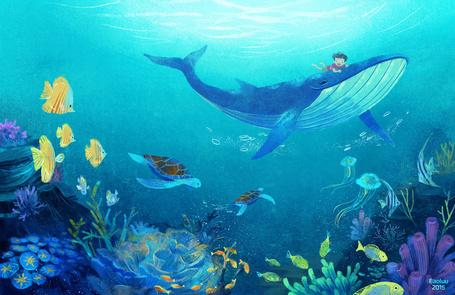 Фото Мальчик плавает на ките под водой, by Menstos