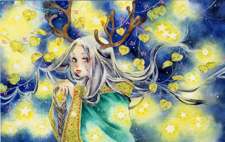 Фото Девушка с оленьими рожками