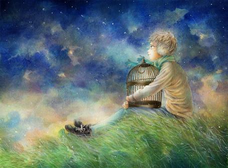 Фото Плачущий парень с пустой клеткой сидит в траве на фоне ночного неба