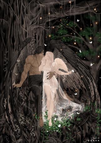 Фото Демон и ангел стоят под деревом в ночном лесу