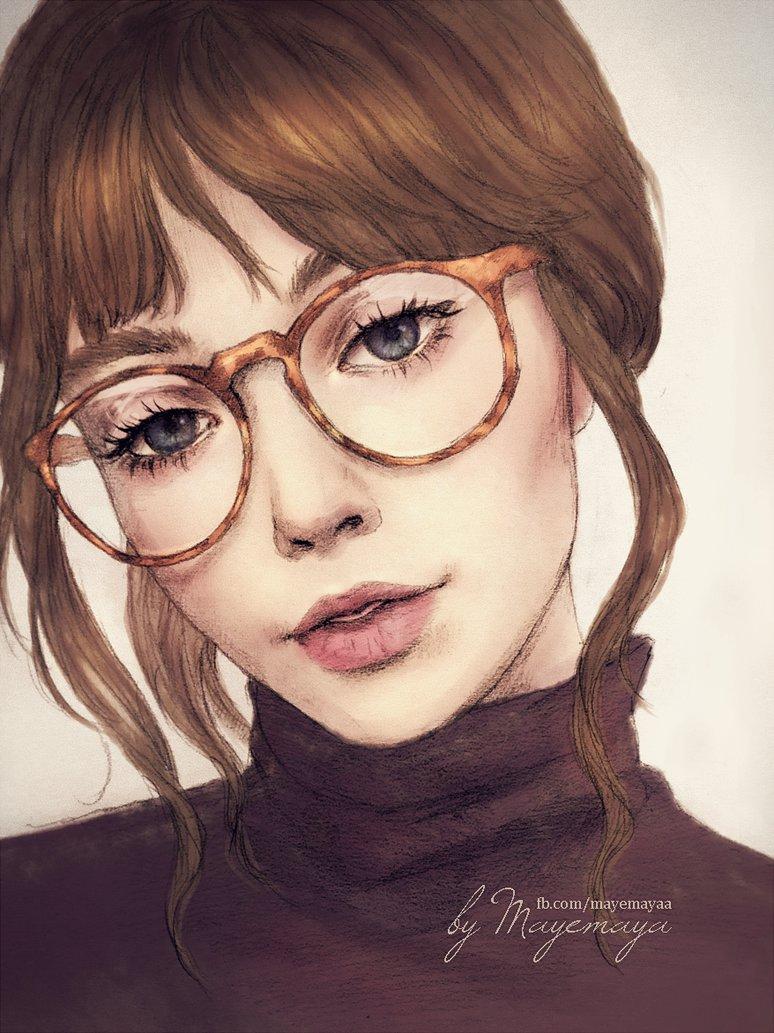 Картинка нарисованной девушки в очках