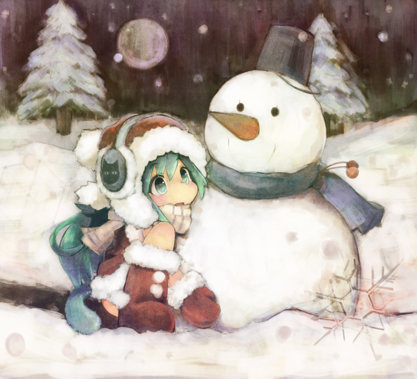 Фото Девочка и снеговик
