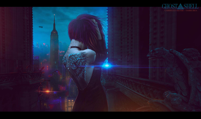 Фото Девушка на фоне фантастического города, by DarkCrea (Ghost in the shell / Призрак в доспехах)