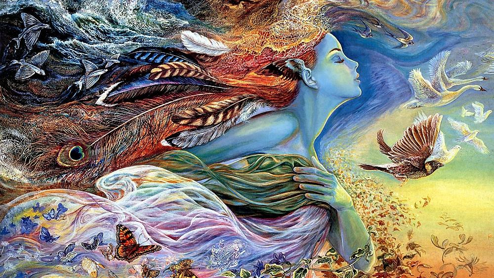 Фото Девушка Лето с перьями в волосах, в развевающихся одеждах, в окружении птиц, бабочек, листьев, цветов, летит навстречу ветру, современная британская художница в стиле фэнтези Жозефина Уолл / Josephine Wall/