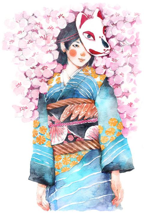 Фото Девушка в кимоно и маске стоит среди цветов сакуры, by Xuan loc Xuan