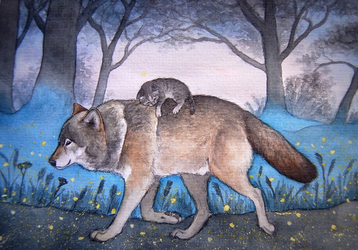Картинка волк с котенком