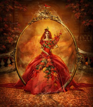 Фото Девушка в длинном платье, украшенном цветами проходит через волшебное зеркало, by vacuumslayer