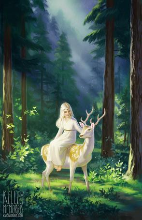 Фото Девушка сидит на олене в лесу, by Kelley Mcmorris