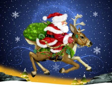 Фото Дед Мороз на олене, иллюстратор Daryl Slaton