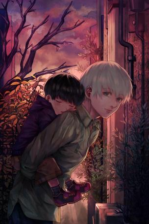Фото Ken Kaneki / Кэн Канэки из аниме Tokyo Ghoul / Токийский гуль держит на руках маленького себя, by Xino
