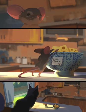 Фото Серия картинок, где кошка угощает мышь сыром / Free Cheese/ (Бесплатный Сыр)