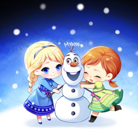 Фото Анна, Эльза и Олаф, герои мультфильма Холодное сердце / Frozen