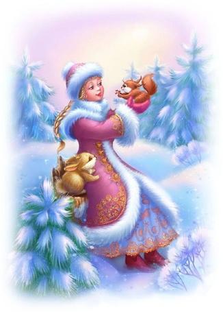 Фото Снегурочка с белочкой и зайчиком