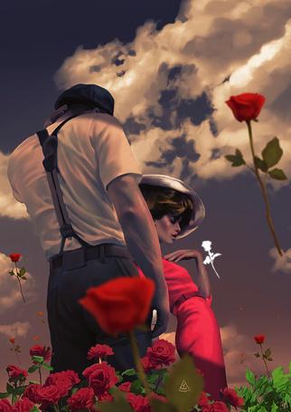 Фото Парень и девушка стоят среди цветов под облачным небом, ву Aykut Aydogdu